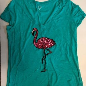 New York and company Sequin flamingo teal v neck